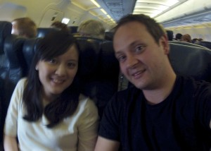 Craig Ward and Eunice Chow flying to London taken with GoPro
