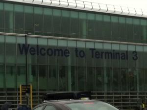 Craig Ward arriving at Manchester Airport Terminal 3